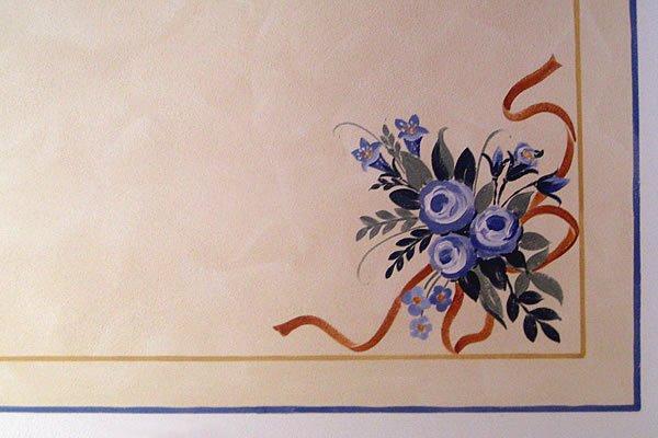 Soffitto velato con decoro / Lasierte Decke mit Ornament